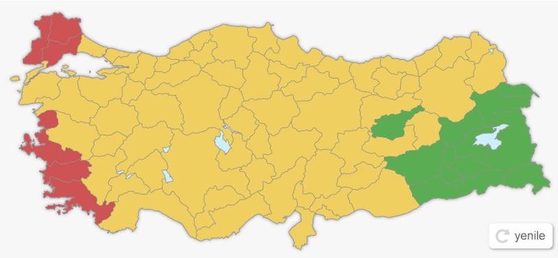 1 Kasım 2015 Genel Seçim Haritası